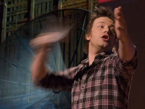 Jamie Oliver gets hand horribly mangled in fan after attempting to throw javelin during 2010 TED talk. (No, not really.) Image by Suzie Katz, available at https://flic.kr/p/7Ya7BB Image available under a CC Attribution-NonCommercial-NoDerivs 2.0 Generic licence.